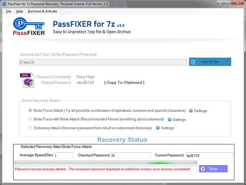 PassFixer 7Z Password Recovery