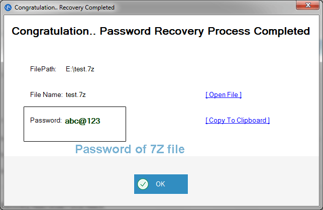 recover rar password is displayed on the screen