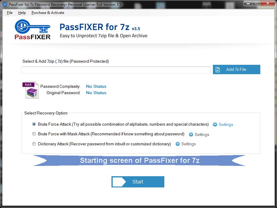 start up screen of 7z password unlocker tool