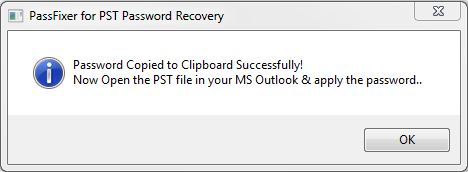 Password copied in the clipboard
