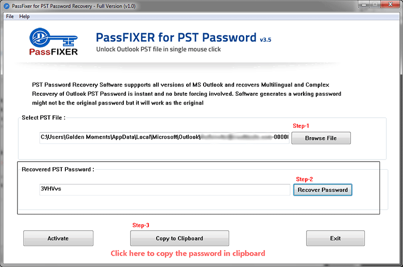 PassFixer PST Password Recovery