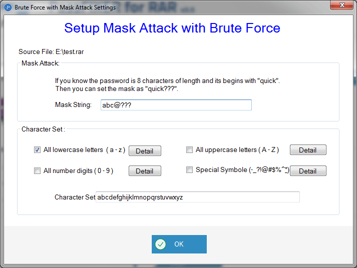 mask attack settings